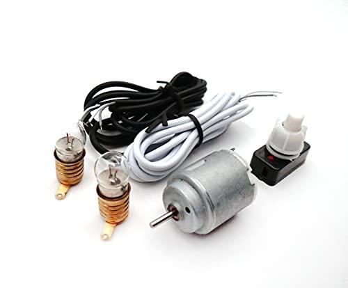 MEISHIDA Kit de Circuito Eléctrico Didáctico con Motor 2 Bombillas e Interruptor, Set Eléctrico Escolar (8640)