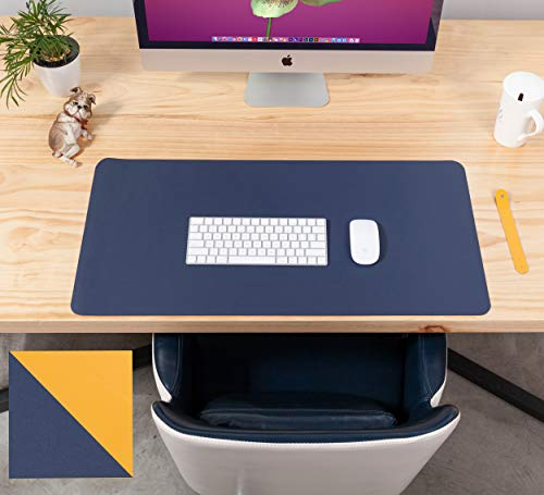 KUAO Dual-Sided PU Leather Desk Pad 90x45CM, Large Gaming Mouse Pad Waterproof Easy Clean Multifunctional Desk Protector Mat Blotter Writing Mat Keyboard Mat for Office/Home, Blue/Yellow