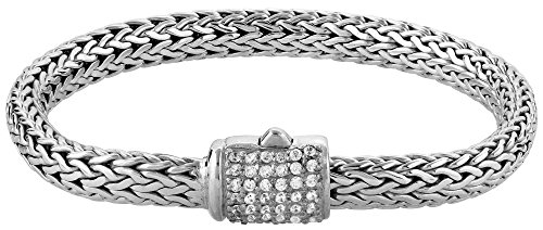 Kuzzoi Buddha Design Silber-Armband für Damen, handgefertigtes Armband aus massiven 925er Sterling Silber mit 42 Cubic Zirkonia, Exklusives Damen-Armband Gravur, 7mm breit, 335203-020