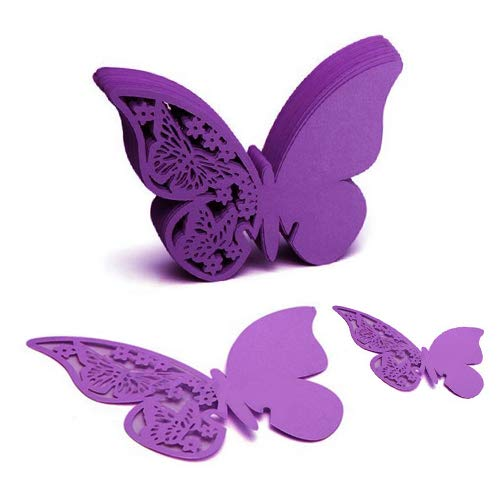 YEHAM 100 Pcs 3D Laser Cut Butterfly Wine Glass Cards Table Number Name Paper Place Cards for Wedding Party Decoration (Purple)