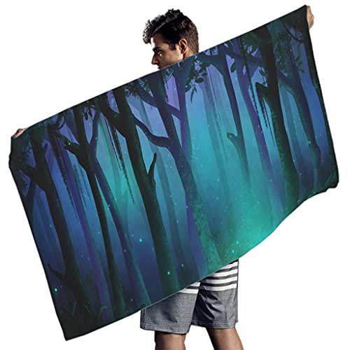 Tobgreatey Toalla de baño con diseño de bosque mágico, verde, para viajes, color blanco, 150 x 75 cm