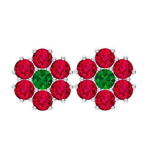 Pendientes de tuerca de 0,79 quilates, piedra preciosa redonda de 3 mm, esmeralda, 3 mm, rubí creado en laboratorio, pendientes de tuerca dorados, regalo de San Valentín para ella, tornillo verde