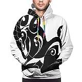 NigtafeColla Sudadera con capucha para hombre, composición abstracta monocromática con flores y hojas laminadas, talla S