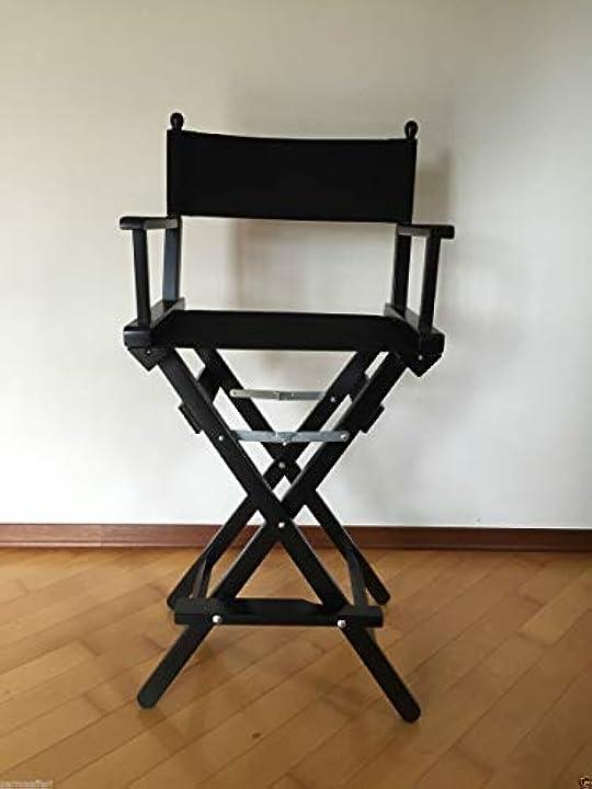 Sedia da regista alta pieghevole nera + tessuto nero sedia da truccatrice make up parmaaffari B016FC4CBY
