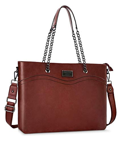 Mosiso laptoptas voor dames, premium PU-leer, business work travel shopping schouder boutique, armband, handtas, aktetas met kettinggreep en multi-compartiment bruin