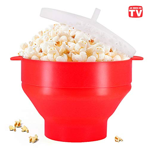 Review Of Microwaveable Silicone Popcorn Popper, BPA Free Collapsible Hot Air Microwavable Popcorn M...