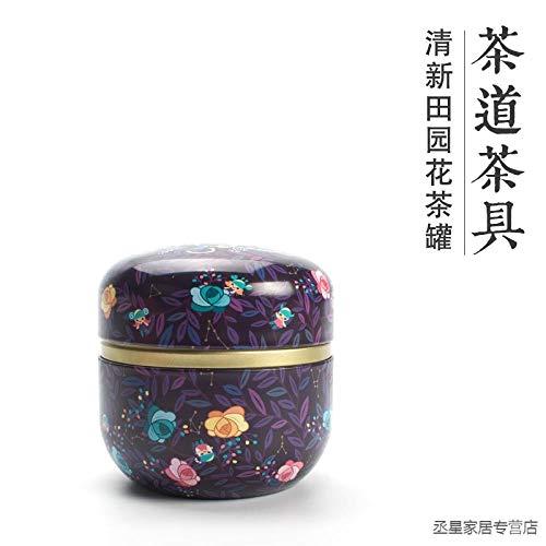 GBCJ Accesorios para Juegos de té Tetera de Bolsillo Tetera portátil Caja de Lata de Metal Viaje a casa Ronda Flor té Lata-constelación púrpura Juego de té