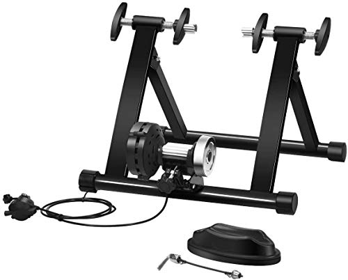 DREAMADE Klappbarer Rollentrainer, Fahrradtrainer mit Schnellspanner und Vorderradstütze, Indoor Fahrrad Übungsständer aus Stahl, Radtrainer für 26-28 Zoll Reifen, 150 kg belastbar (Draht-Steuerung)
