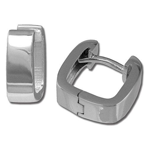 SilberDream Ohrringe 11mm Damen-Schmuck 925er Silber Creolen Eckig SDO347S