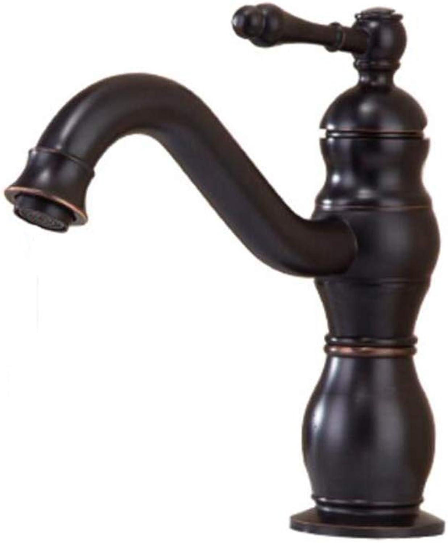 ZJGZDCP Waschtischarmaturen Basin Tap Badarmatur Wasserhahn Becken Bathroom Sink Europischer Stil Messing überzug 360 ° Drehung Einzelgriff Warmes Und Kaltes Mischen (Farbe   schwarz)