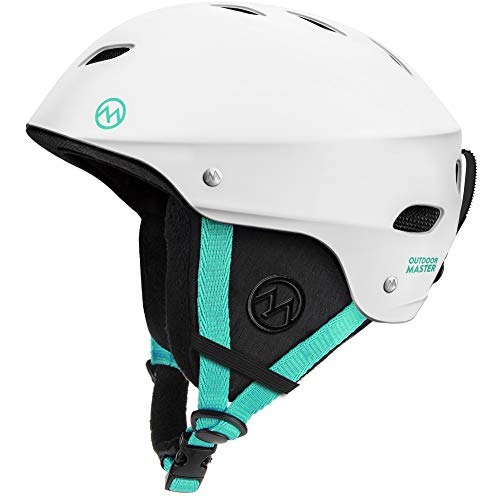 OutdoorMaster Ski Helmet - with ASTM Certified Safety, 9 Options - for Men, Women & Youth (White+Teal,M)