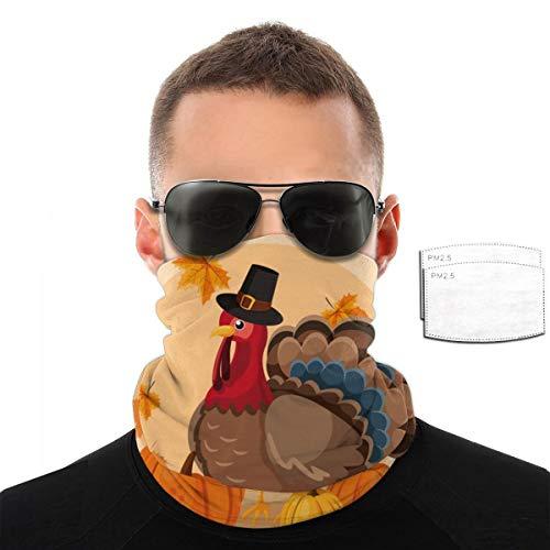 Pavo con calabazas y sombrero, peregrino del Día de Acción de Gracias, hombres y mujeres, deportes al aire libre, resistente al viento, transpirable, variedad toalla facial, color Con 2 filtros., tamaño talla única