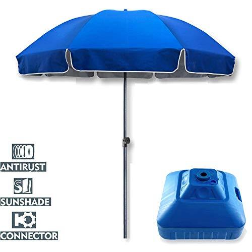Riyyow Paraguas Parasol Paraguas Anti-óxido Paraguas, Paraguas a Prueba de Viento Comercial con 1.5kg de Base de Paraguas Llena de Agua, 9.2 pies, 90.6'Altura Azul