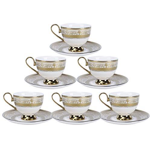 fanquare Set mit 6 Kaffeetassen und Untertassen Set, Golden Flowers Keramik Teetassen Set für Erwachsene