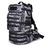 RatenKont 50L wasserdichter Militärrucksack Taktischer Rucksack Assault Militärrucksäcke Rucksack Camping Jagdtasche Python Black