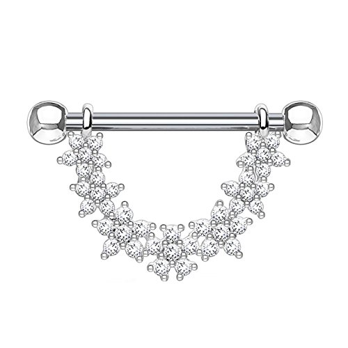 beyoutifulthings ZIRKONIA-Blumen Bogen Brustwarzen-Piercing Brust-Piercing Intim-Piercing Edelstahl Silber Clear Stab 1,6mm 14mm