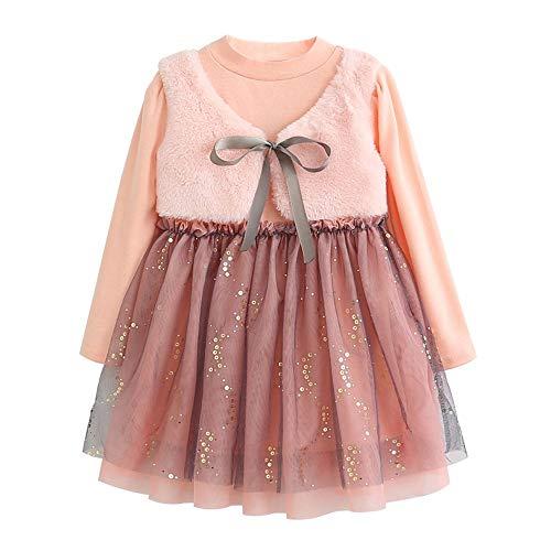 Kleding voor kleine kinderen babymeisjes - solide rechte jurken met patchwork - Bow Party Vest prinses jurken - mesh kant boog prinses jurk