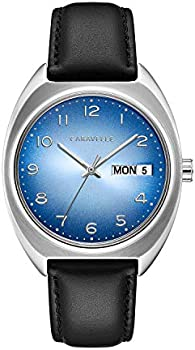 Caravelle Men's Stainless Steel Blue Dial Black Leather Watch