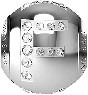 SWAROVSKI LETTER F Stainless Steel Becharmed 12 MM CRYSTAL BEAD