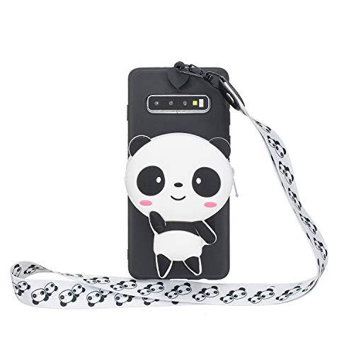 HopMore Kompatibel mit Samsung Galaxy S10 Hülle Silikon Mit Kopfhörer Tasche Schlüsselband Muster Galaxy S10 Handyhülle 3D Schutzhülle Weich Handy Hülle Stoßfest Silikonhülle - Panda