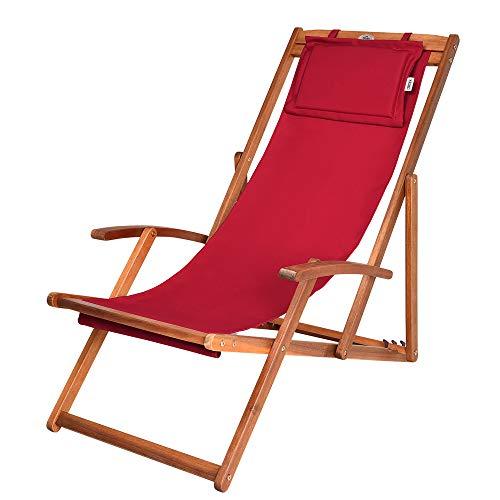 Detex Silla Roja Plegable de Madera de Acacia y Tejido con apoyacabeza y reposabrazos Tumbona de Exterior jardín Playa