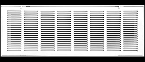 32' X 10 Steel Return Air Filter Grille for 1' Filter - Fixed Hinged - Ceiling Recommended - HVAC Duct Cover - Flat Stamped Face - White [Outer Dimensions: 34.5 X 11.75]