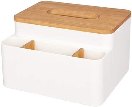 Caja de pañuelos Organizador de almacenamiento Caja de servilleta De plástico con tapa de madera Partición ajustable Multifunción Extraíble Conveniencia Ahorre espacio para la oficina de automóviles