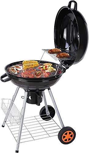 Barbecue a Carbonella, 58 x 58 x 87 cm Barbecue a Carbone, BBQ Carbonella, Griglia Carbonella con Due Griglie, Giardino, Festa, Campeggi