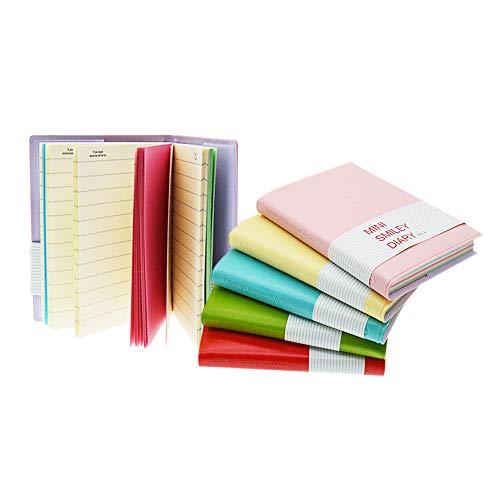Mini-Smiley-Notizbuch, Bonbonfarben, Smiley-Design, Tagebuch/Tagebuch mit Gummiband, einer der modischsten Notizblöcke mit Kunstleder-Einband (zufällige Farbe, 6 Stück)
