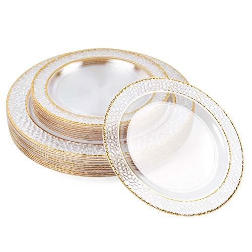 40 Elegante Platos de Plástico Duro Multi-uso, Transparente con Borde Dorado (2 Tamaños)| Resistente, Reutilizable, Práctico, Sin BPA| Platos de Oro para Bodas Fiestas Cumpleaños Navidad.