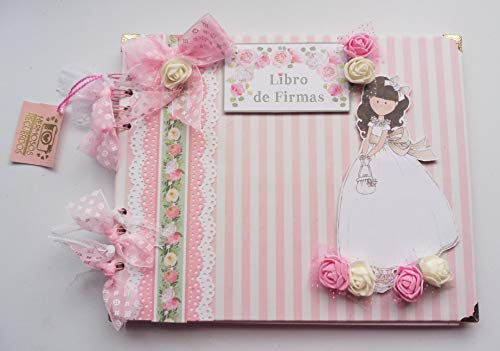Libro de firmas primera comunion niña, recuerdos, fotos. Scrapbooking, scrap, scrapbook, comunión, fotos, álbum de firmas - Hecho a mano, niña15