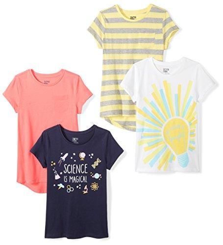 Spotted Zebra Girls' Big 4-Pack Short Sleeve T-Shirt, Goal, Medium (8)