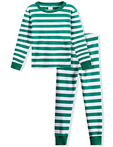 Spring&Gege Gestreift Schlafanzug Jungen lang Rundhals,Pullover Pyjama Set, Langarm Shirt und Pyjamahose