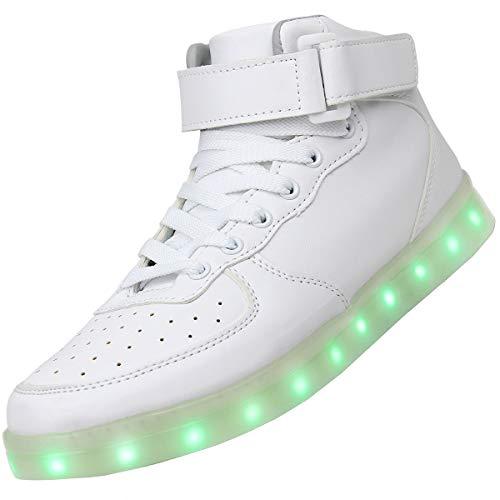 wealsex Unisex Adulto Uomo Donna Scarpe LED Luminosi Sneakers con Le Luci Accendono Scarpe Sportive (Bianco,Etichetta 39 = 38 IT)
