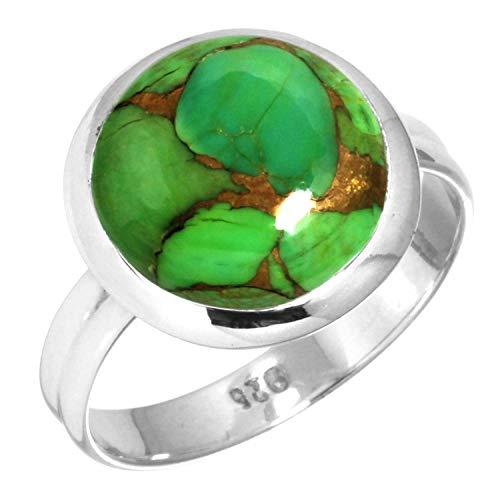 Jeweloporium Kupfer Grün Türkis Ring 925 Sterling Silber Handgemacht Schmuck Größe 66 (21.0) (99047_CGT_R128)