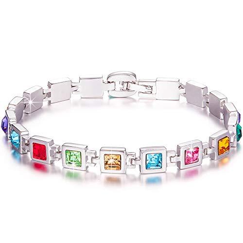 Kami Idea Regalos Dia de la Madre Pulseras Mujer Tenis Tous Mujer Joyeria Color del Arco Iris Swarovski Cristal Regalos para Mujer Mama Regalo Cumpleaños Pulseras de Amistad