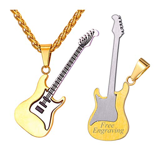 U7 Men Women Music Lover Jewelry Gift 18K Gold Plated Stainless Steel R&B Rock Electric Bass Guitar Pendant Necklace Customize Engraving Both Sides