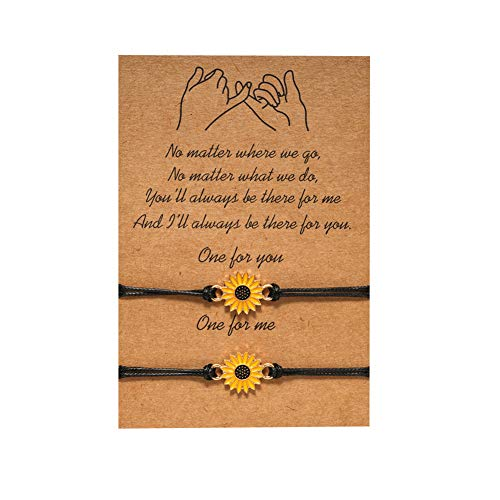 Best Friends Bracelets for 2, DORAFO Long Distance Friendship Couple Bracelets Mother Daughter Bracelts Matching with Message Card Best Gifts for Father, Son, Friends, Grandma, Couples and Teachers-Sunflower