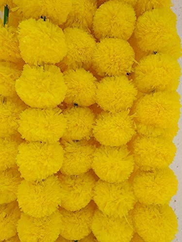 DECORATION CRAFT Pack of 5 Artificial Lemon Yellow Marigold Flower Garlands 5 Feet Long  for Parties  Indian Weddings  Indian Theme Decorations  Home Decoration  Photo Prop  Diwali  Indian Festival