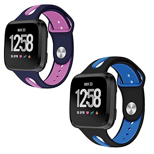 Mersidany 2 Piezas de liberación rápida, muñequera de Repuesto Ajustable para Fitbit versal 2/versal/versal Correa de Reloj de Silicona Lite (S,L)