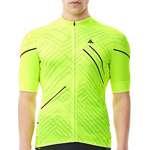 HIKENTURE Radtrikot Herren Kurzarm - [Signalfarbe] - Rennrad MTB Trikot Damen - Auffälliges Fahrrad Trikot für Mountainbike Männer - Sichtbare Fahrradbekleidung als MTB Cycling Jeresy Bike Shirt-L