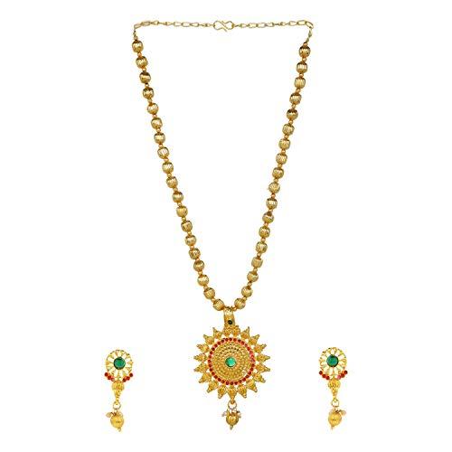 Efulgenz Crystal Pendant Choker Necklace Earrings Bollywood Indian Jewellery Set for Women Girls
