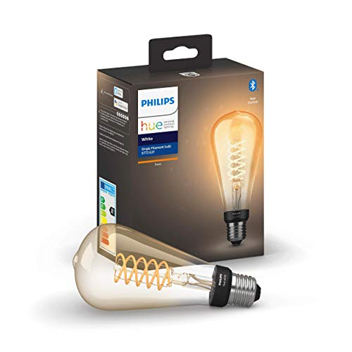 Philips Hue White E27 LED-Lampe Filament Giant Edison, Vintage-Design, dimmbar, warmweißes Licht, steuerbar via App, kompatibel mit Amazon Alexa (Echo, Echo Dot), Transparent, 929002459201