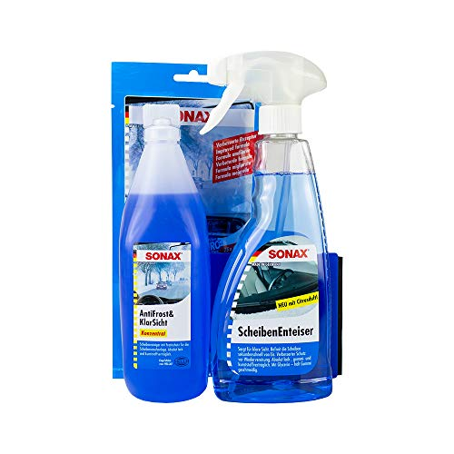 SONAX Winter Fit Set Scheibenenteiser Spray Antifroost & Klarsicht Gummipfleger Microfaser Tuch 3 teilig