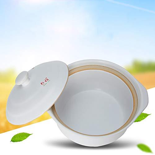 Xnxn Runde Keramik-Auflaufform, hitzebeständiger Steingut-Tontopf Suppentopf mit Deckel hitzebeständiger Topf für langsames Garen weiß 1,8 l