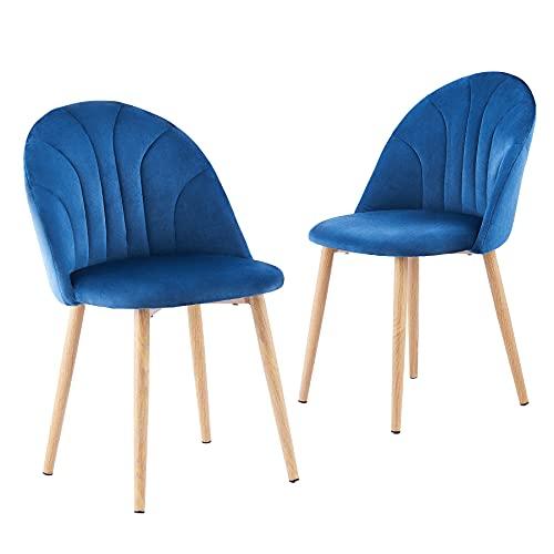 CO-Z Set di 2 Sedie da Pranzo in Velluto Sedie Imbottite Elegante con Gambe in Metallo con Supporto per lo Schienale Medio per Camera da Letto Soggiorno Sala da Pranzo (Azzurro)