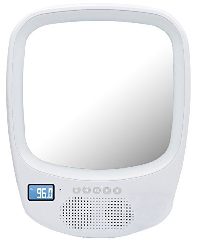 QFX R-70S Wireless Speaker with Fogless Light Up Mirror White