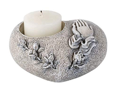 E+N Grab-Engel Grab-Deko Grab-Herz für Grab-Kerze mit Betende Hände, B: 16,5 cm, Polyresin Outdoor