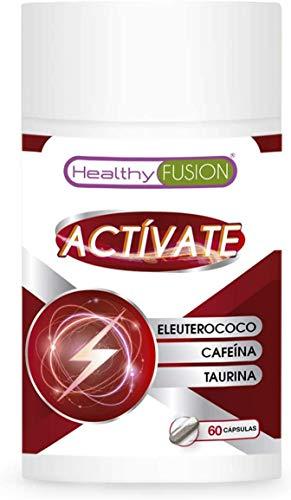 Taurina + cafeína + eleuterococo | Potente energizante y estimulante energético natural | Elimina la fatiga y mejora la resistencia física | Mejora y potencia el rendimiento muscular | 60 cápsulas