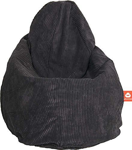 """WHOOBER \""""Barça Indoor-Sitzsack Anthrazit aus weichem Cord-Stoff - Ø 84 cm (Höhe: 146 cm) - für Drinnen - komfortable Birnenform/Tropfenform - Waschbar - Langlebige Qualität"""